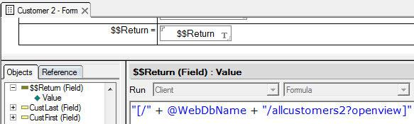 Forms and Pages If the requirement is to save a document and then to return to a specific view or another page, create a button with this formula to achieve that result.