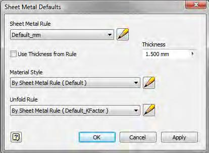 Use sheet metal defaults to activate a specific sheet metal rule or to quickly override a rule setting, such as thickness,