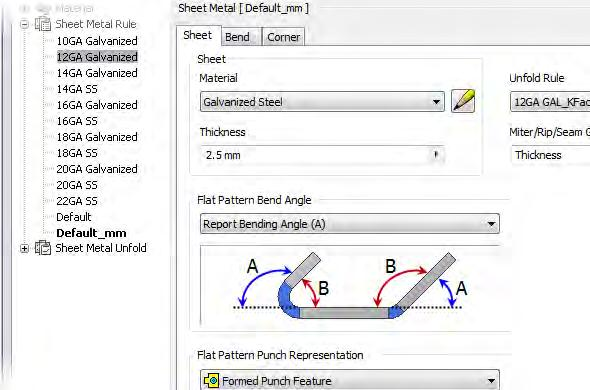 In the following illustration, the Style and Standard Editor is shown with multiple sheet metals rules defined.