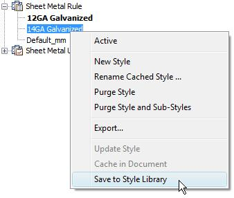 Active: Use this option to make the selected rule active. New Style: Use this option to create a new sheet metal rule based upon the selected rule.