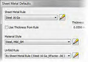In the onscreen list of chapters and exercises, click Chapter 1: Sheet Metal Overview. Click Exercise: Create and Save Sheet Metal Styles in a Template.