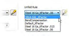In the Sheet Metal Defaults dialog box, for the sheet metal rule, select 18GA Galvanized.