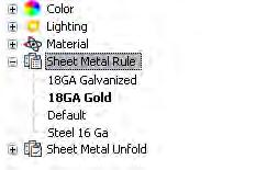 Note: If you did not create Sheet_Metal_Rules2.ipt, open Sheet_Metal_Rules_Gold.ipt. 13. Observe the local styles: Activate the Style and Standard Editor.