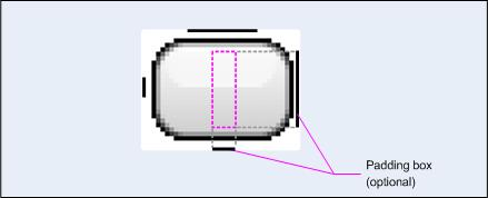 Bottom and right borders show what part of the image will respond to padding values. The 9-patch drawable can be drawn in any image editor, but.9.png must be appended to the file name so as to parse it as 9-patch.