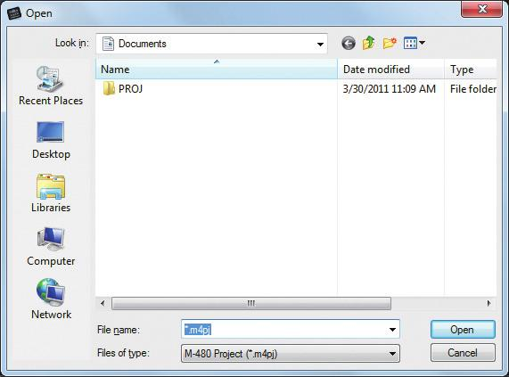 Using M-480 RCS Opening and saving a project Opening a project Opening a new project 1 From the File menu, choose New Project.