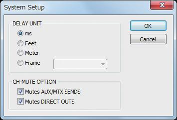 Using M-480 RCS System settings 1 From the Setup menu, choose System Setup... fig.scrlcrsetup.eps The System Setup dialog box will appear. 2 Select the desired items, and then click OK.