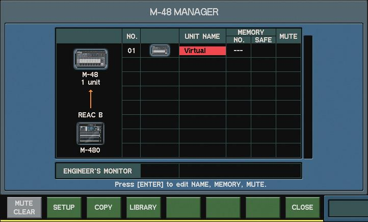 Using M-480 RCS M-48 settings You can manage and make settings for the M-48 Live Personal Mixer in the same way you do from the M-480 console.