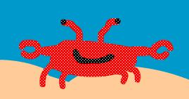 4. Once your crab is complete, click again on the crab layer. This should highlight the crab on the stage, like below. 5. With the object highlighted, go to Modify / Convert to Symbol.