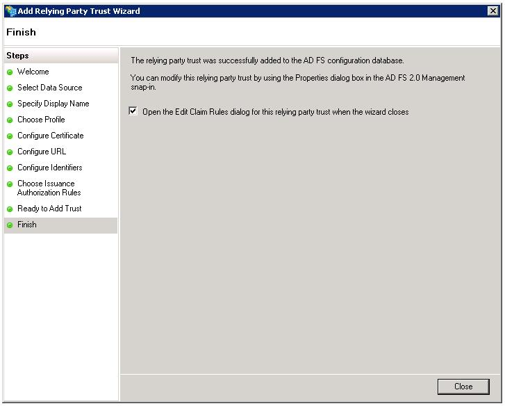 16. Click Close. The Edit Claim Rules for Informatica dialog box appears. 17. Click Add Rule.