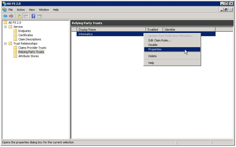 The Informatica Properties dialog box appears. 4. Click the Endpoints tab. The Add an Endpoint dialog box appears. 5.