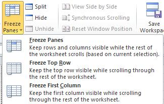 The VIEW Tab: To Freeze Panes: Freezing Panes allows certain information to remain intact while the rest of the sheet is scrolling. Click the Freeze Panes button.