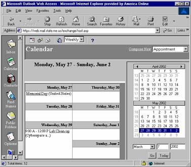 To view a particular day or week, click the desired date or week number in the small calendar on the right side