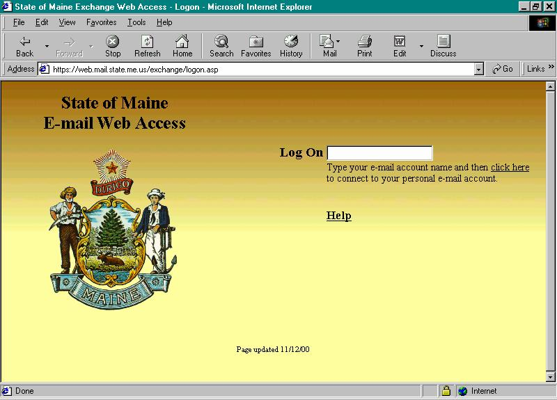 4. On the WEB ACCESS screen type your name in the format First.Last in the LOG ON area.