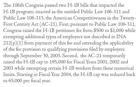 The American Competitiveness and Workforce Improvement ACT does Not help Year H-1B Cap 2000 115,000 2001 195,000* 2002 195,000* 2003 195,000* 2004 65,000 Source: United
