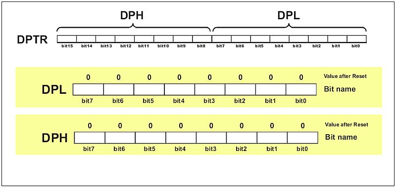 DATA POINTER REGISTER (DPTR) DPTR register is not a true one because it doesn't physically exist. It consists of two separate registers: DPH (Data Pointer High) and (Data Pointer Low).