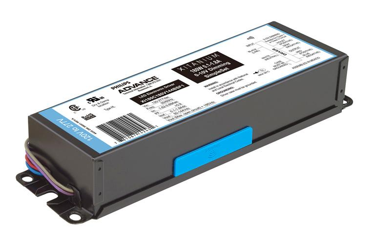 Load and 75 C Case Philips Advance Xitanium LED drivers with SimpleSet technology and auxiliary power supply extend the driver application scope to include simple