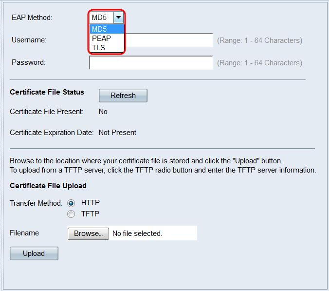 Step 2. In the EAP Method drop-down list, choose the algorithm that will be used to encrypt usernames and passwords.