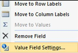 Click Value Field Settings. 4. On the Summarize by tab, select the desired mathematical operation (Average for example). 5. Click OK.