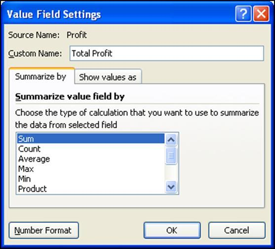 You can also drag different fields into the Values box.