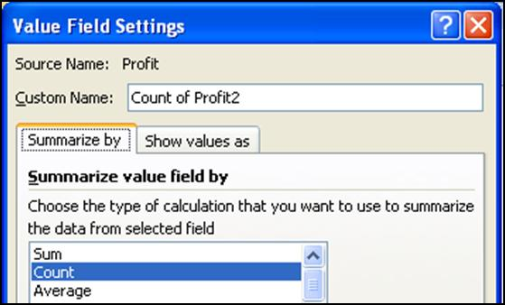 CREATE MULTIPLE SUMMARY CALCULATIONS BY ROW 1. Create the structure shown to the left. a. Drag Rating into Column Labels. b. Drag Production Co into Row Labels. c. Drag Profit into Values twice. 2.