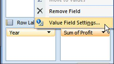 PIVOT TABLES ADVANCED MATHEMATICAL OPERATIONS We previously examined how to change the summary option from Sum to Count, Average, Max, etc., but there are other options.