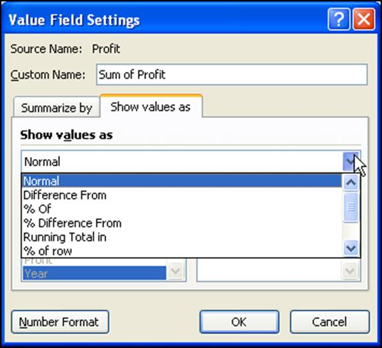 These options are all available by accessing the screens below: 1. After placing a value or date field in the Values box, click its drop down arrow and select Value Field Settings. 2.
