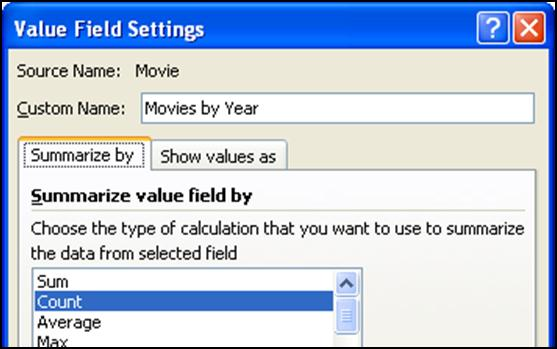 year. 1. Structure the PivotTable as shown below by dragging Year into Row Labels and Movies into Values twice. (Because we are counting, any field would work in the Values box.) 2.