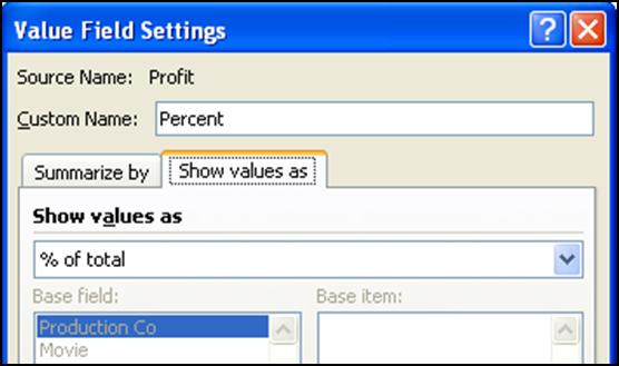 Structure the PivotTable as shown below by dragging Category into Row Labels and Profit into Values twice. 2.