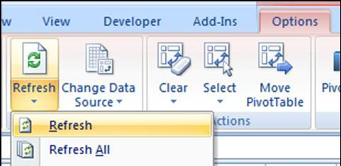 REFRESHING YOUR PIVOTTABLE WHEN THE DATABASE CHANGES Should you edit a field in your database or add a new row, you will need to update your PivotTable.
