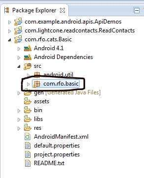 "8. Select the ""com.rfo.basic"" as shown. 9. Select File->Rename and rename it to ""com.rfo.cats"". Make sure the Update References box is checked. 10."