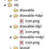 For each of the icon sizes: 1. Outside of Eclipse, copy the icon file 2. In Eclipse, right click on the appropriate drawable- for the copied icon's size 3. Select Paste 4. Right click on the icon.