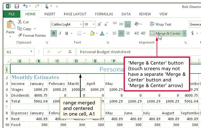 Centering Cell Entries across Columns by Merging Cells Drag to select the range of cells you want to merge and center Tap or click the Merge & Center button on the HOME tab to merge