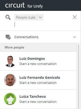 1-to-1 conversation a) Use the contextual search and filter by any name b) Click on the person and start a new private