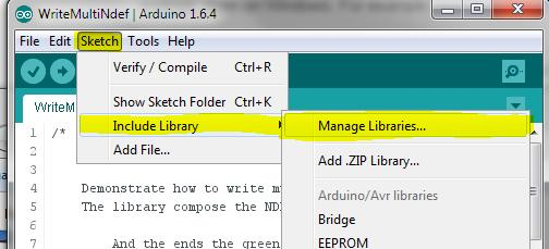 Include Library Figure 12: ArduinoIDE: Launch Manage Libraries interface Once the Library Manager is started,