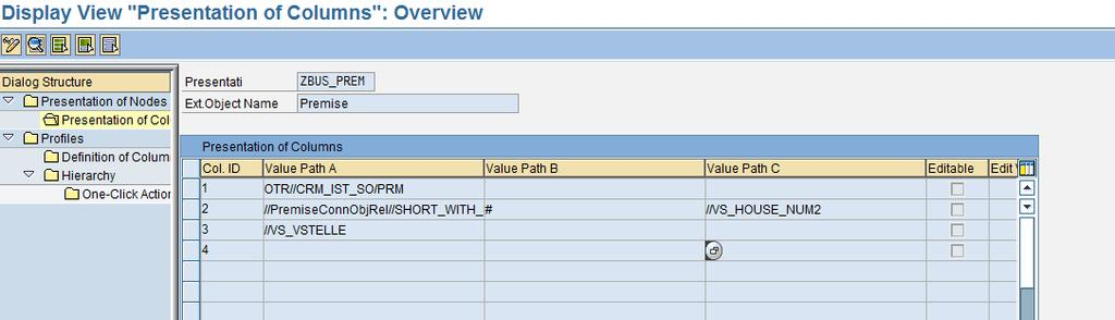 "There are 3 columns defined for ZBUS_PREM. For every column, the column values maintained in ""Value Path A"", ""Value Path B"" and ""Value Path C"" are concatenated and displayed."