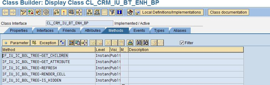 "In the example taken, the standard tree profile has the standard class CL_CRM_IU_BT_ENH_BP defined against many of the nodes. This class implements the interface ""IF_IU_IC_BOL_TREE""."