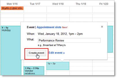 Option 2: Or, click a spot on your calendar to create a 1 hour event. Click and drag to create an event of more than 1 hour.