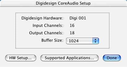 Configuring the Digidesign CoreAudio Driver You can configure the Digidesign CoreAudio Driver using Digidesign CoreAudio Setup, or from within most third-party CoreAudio-compatible client