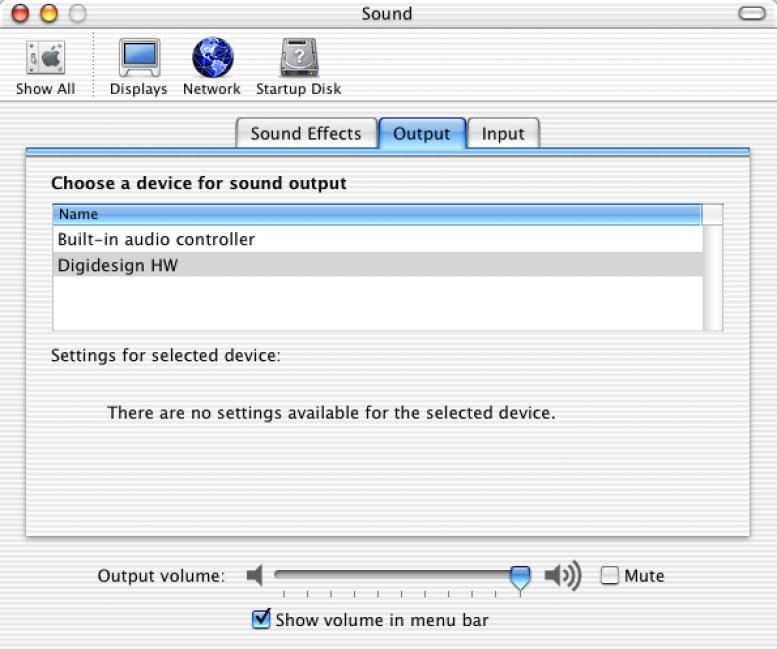 Configuring the Apple Sound Preferences or Apple Audio MIDI Setup 4 Click the Input tab and select Digidesign HW as the device for sound input.