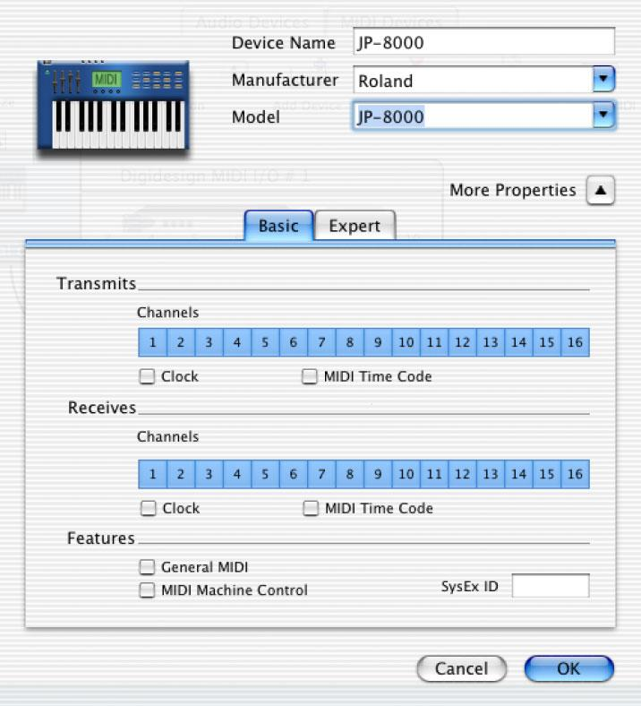 3 Click the More Properties arrow to expand the dialog, then enable the appropriate MIDI channels (1 16) for the Transmits and Receives options.