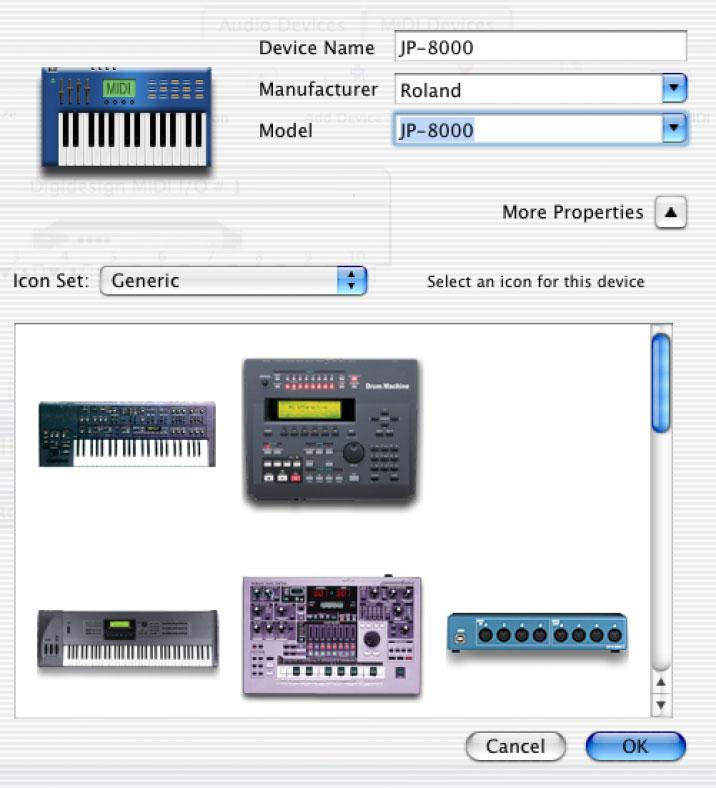 The window expands to show images for various MIDI devices (such as keyboards, modules, interfaces, and mixers). Select an icon for your device.