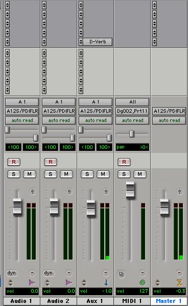 Track type is indicated by the Track Type icons just below the faders. Audio tracks, Auxiliary Inputs, Master Faders, and MIDI tracks can be automated.
