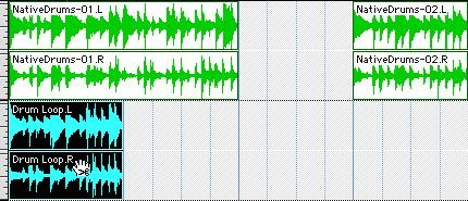 6 Click at the end of the region and drag left to shorten the region. 6 Click the Selector tool, and drag on the waveform with the Selector to make a one-bar selection.