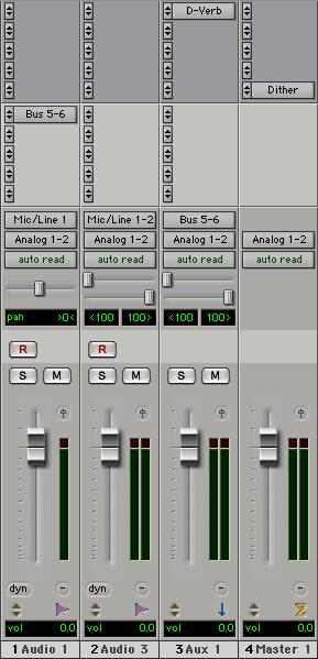 The wet/dry balance in the mix can be controlled using the track faders (dry level) and Auxiliary Input fader (wet, or effect return level).