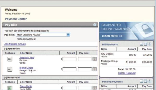 3 Select the type of payee by selecting a category and reviewing the list or typing the company name at top.
