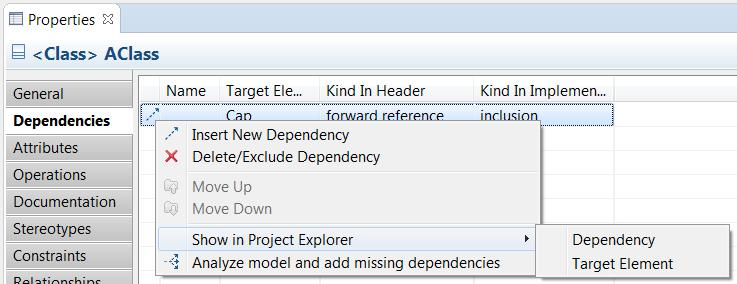 Navigation from Dependencies The Dependencies tab of the Properties view now provides commands for