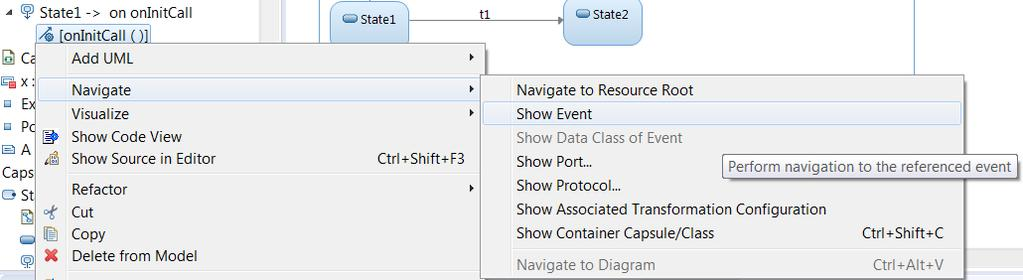 Navigation from Transition Triggers Useful navigation commands have been added for transition triggers shown in the Project Explorer.