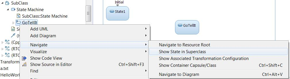 Navigation from Redefined or Excluded Elements Navigation commands are now available for navigating from redefined or excluded states, transitions or ports.