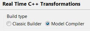 Model Compiler Preferences The Real Time C++ Transformations preference page allows you to choose if you want to use the model compiler or the old C++ code generator ( Classic Builder ) for building