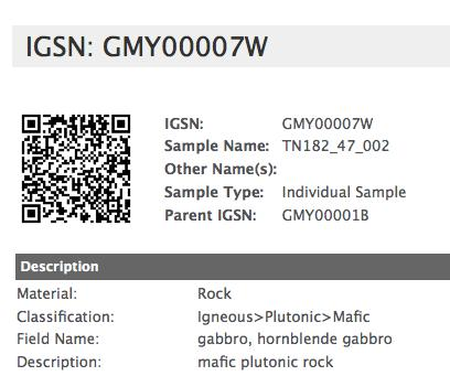 Samples: Use IGSN s International Geo Sample Number: http://www.geosamples.